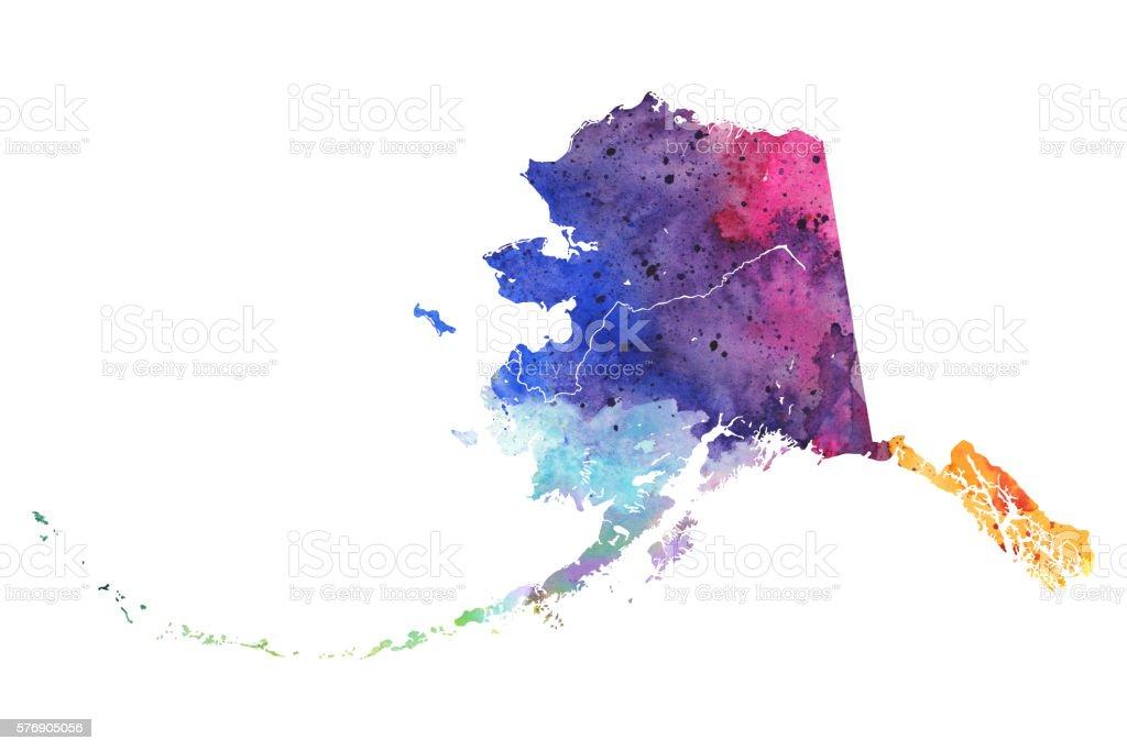 Map of Alaska with Watercolor Texture - Raster Illustration vector art illustration