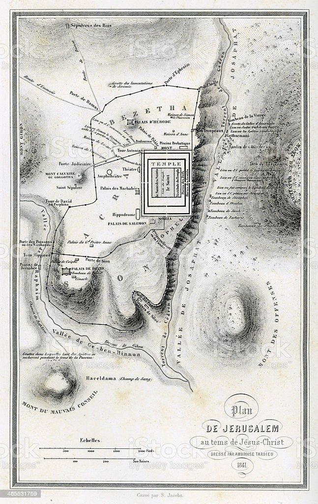 Map of Ancient Jerusalem vector art illustration