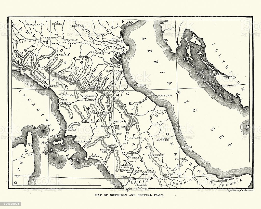 Map of Ancient Northern and Central Italy vector art illustration