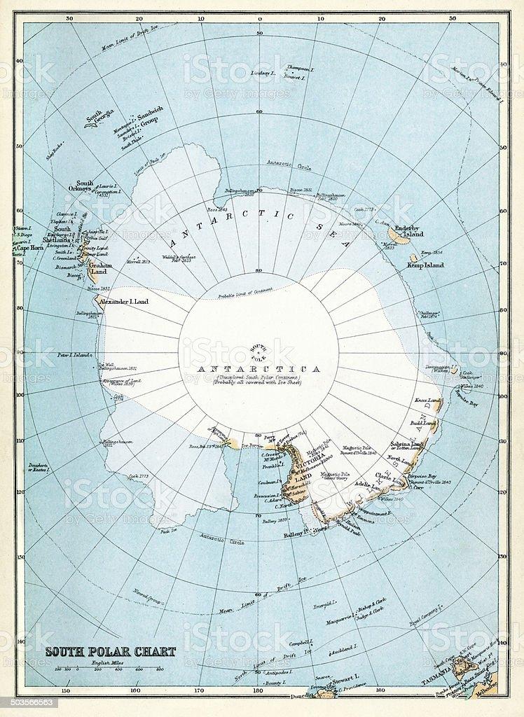 Map of Antarctica vector art illustration