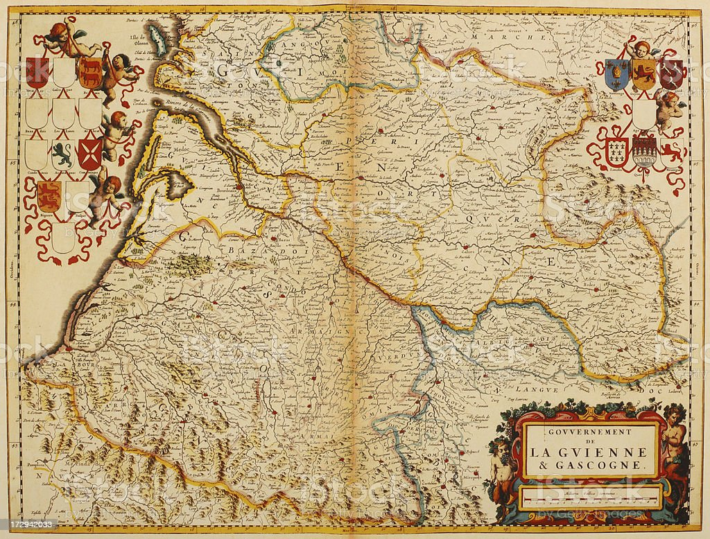 Map of Aquitaine and Gascogne 1635 vector art illustration