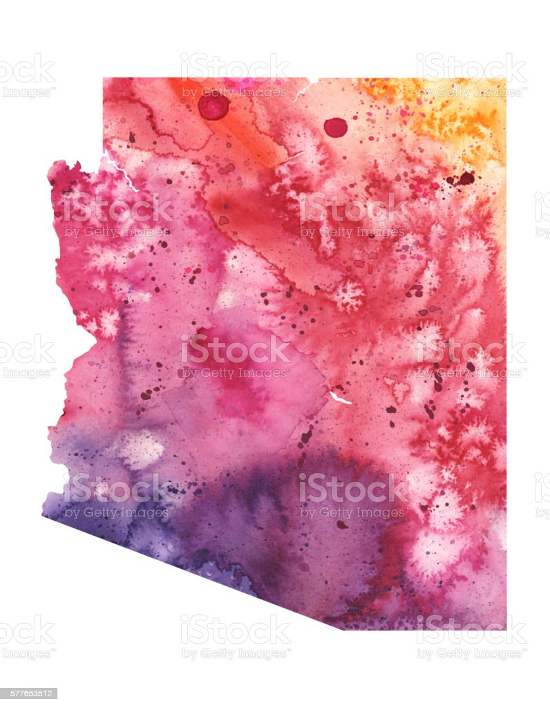 Map of Arizona with Watercolor Texture - Raster Illustration vector art illustration
