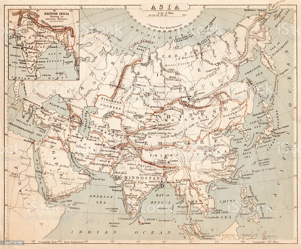 Map of Asia 1869 vector art illustration