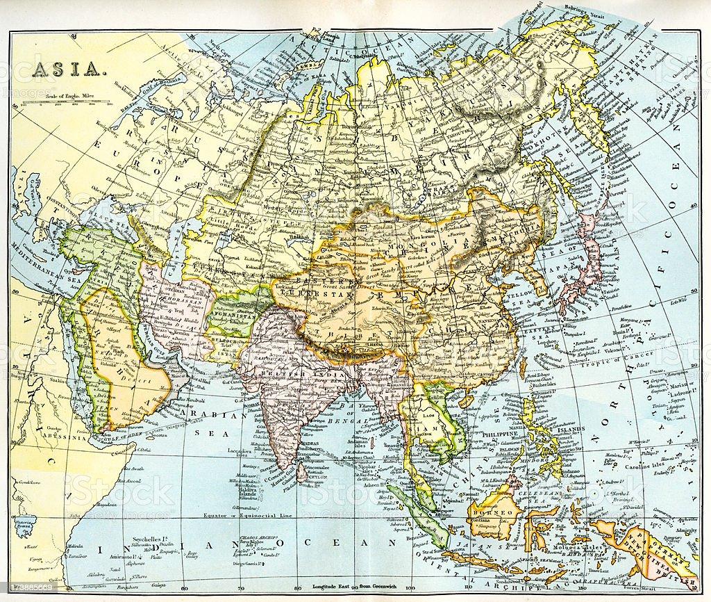 Map of Asia 19th century vector art illustration