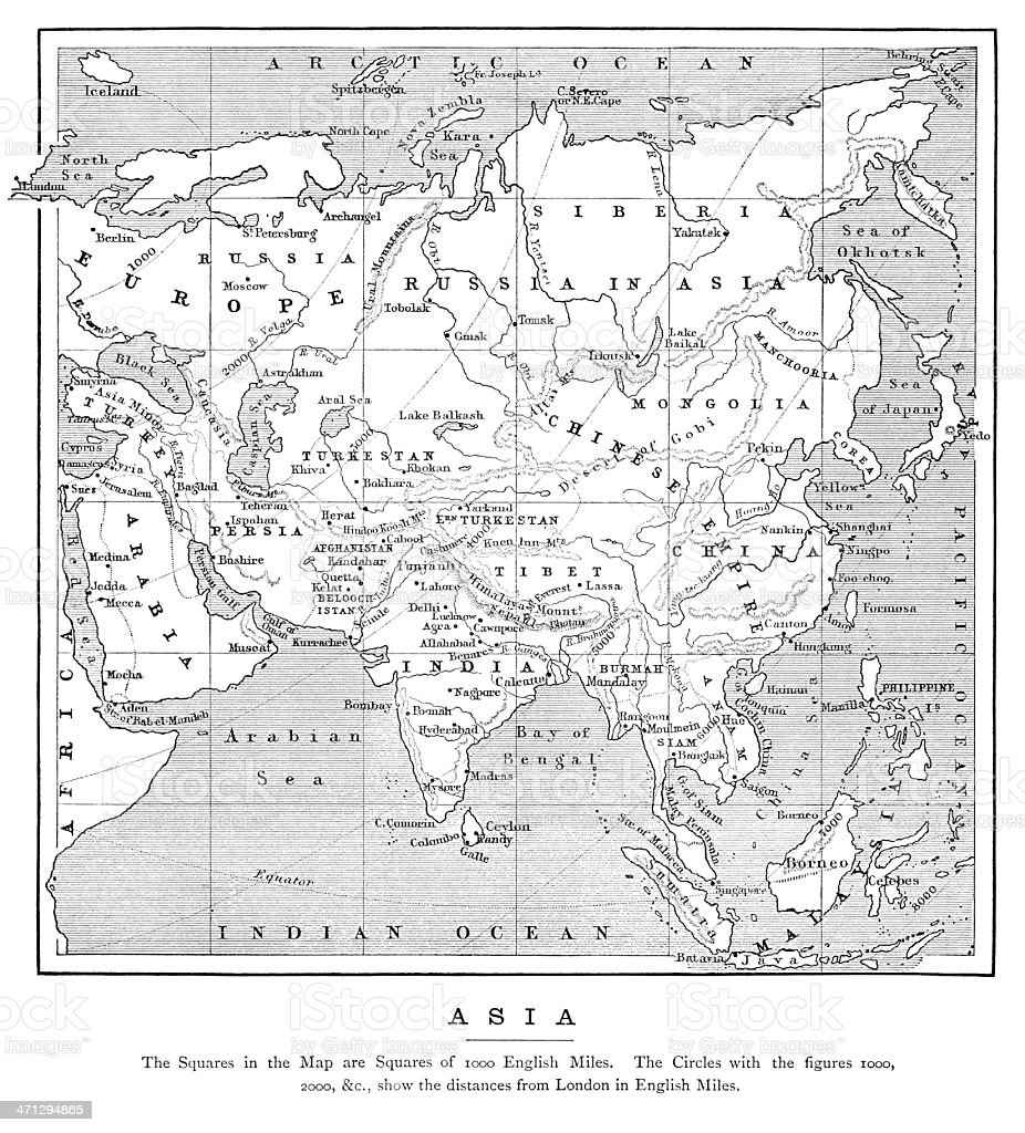 Map of Asia with distances from London (1882) vector art illustration