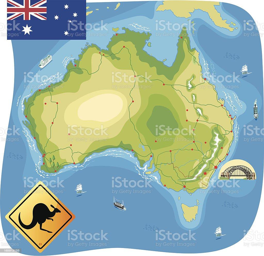 Map of Australia vector art illustration