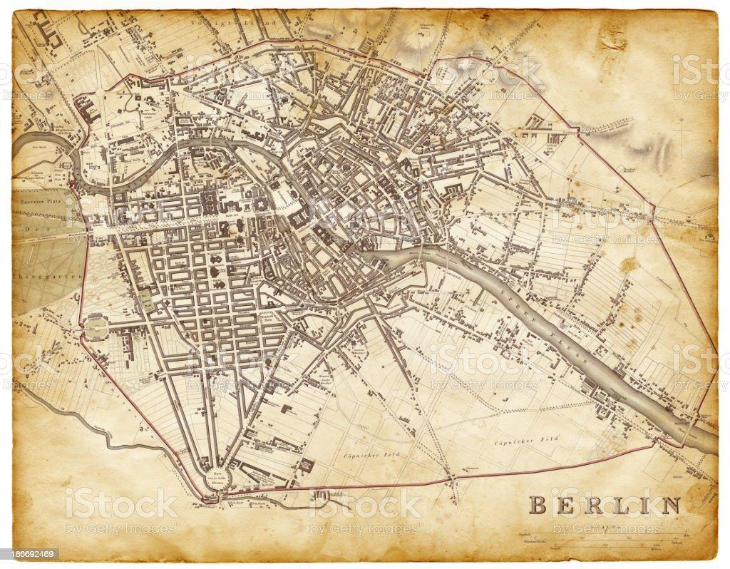map of berlin 1830 vector art illustration
