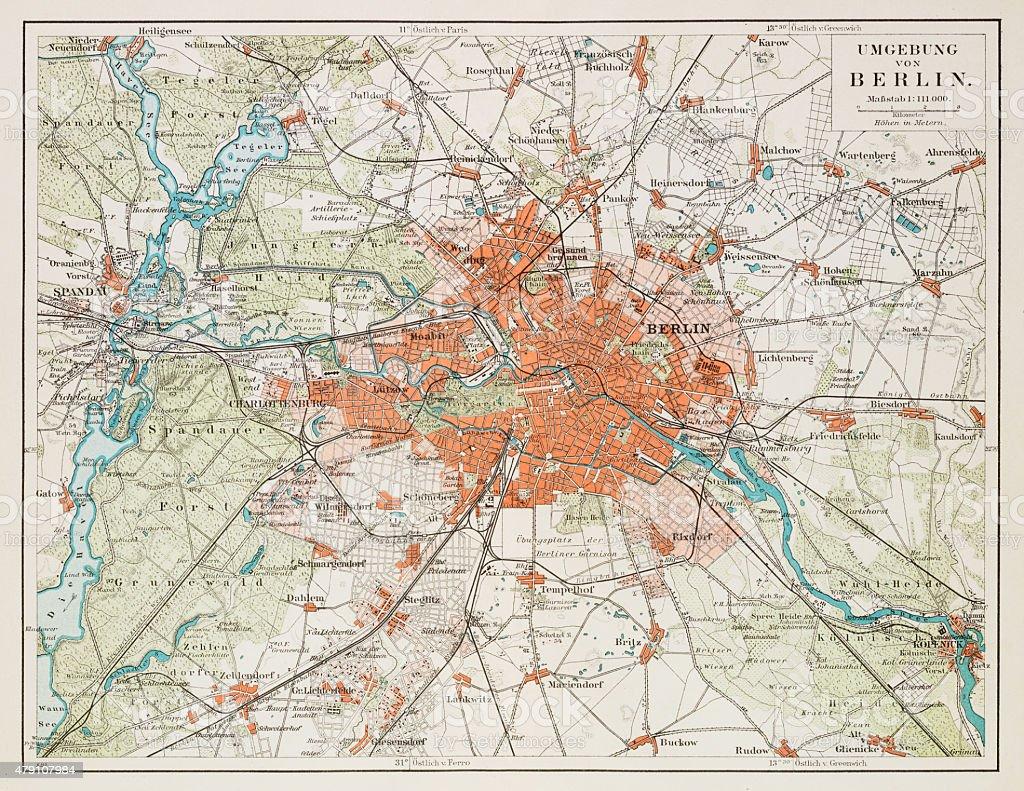 Map of Berlin 1895 vector art illustration