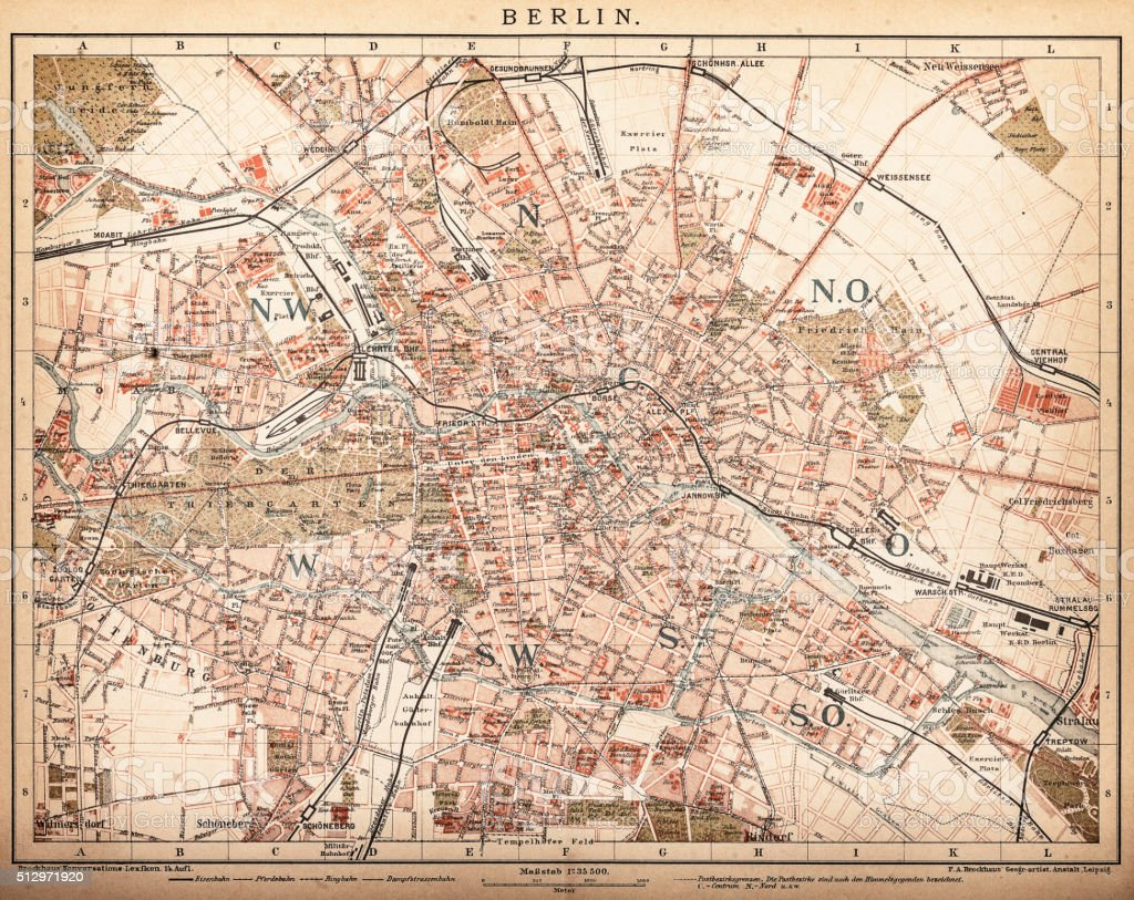 Map of Berlin 1898 vector art illustration