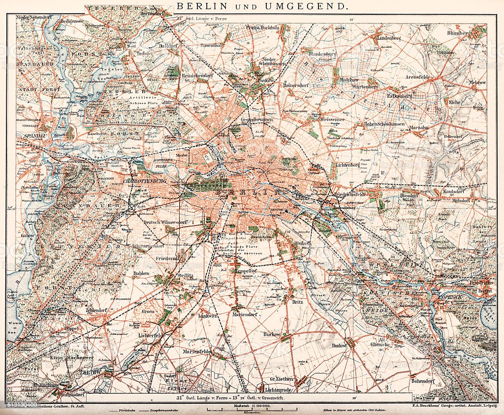 Map of Berlin and surrounding area 1898 vector art illustration