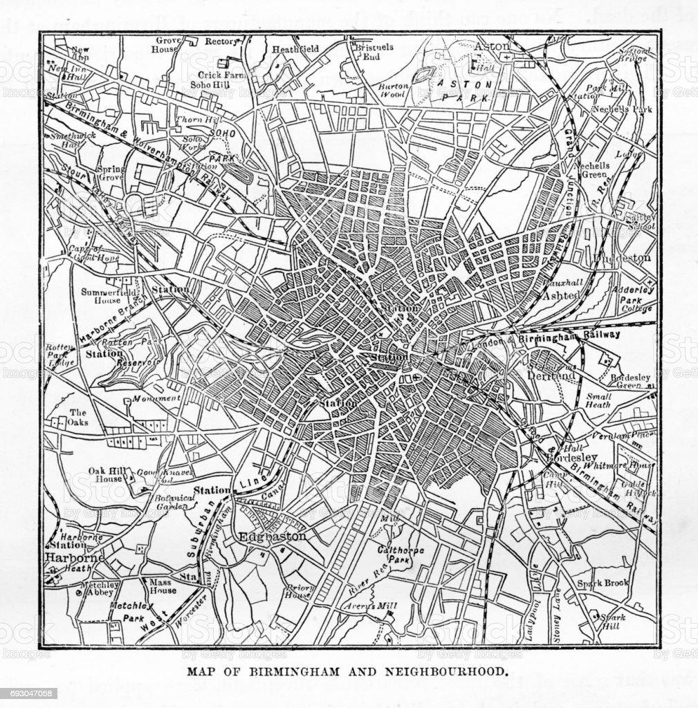 Map of Birmingham and Neighborhoods, England Victorian Engraving, 1840 vector art illustration