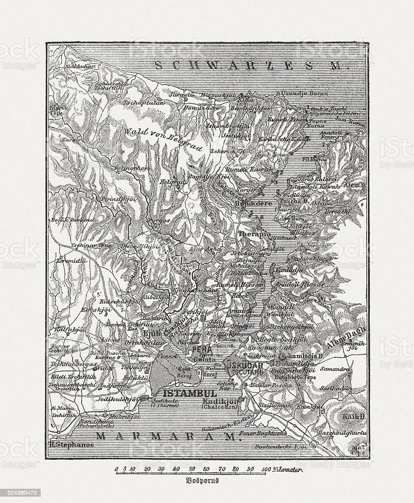 Map of Bosphorus, Turkey, wood engraving, published in 1882 vector art illustration