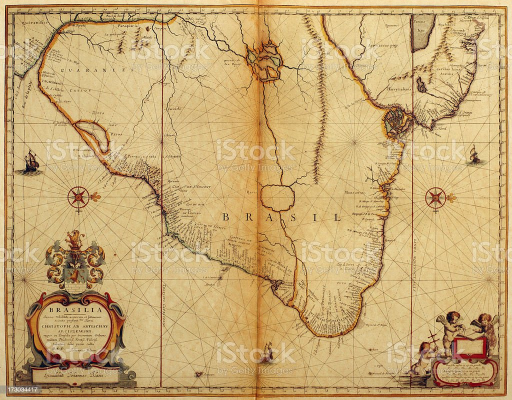 Map of Brasil 1635 vector art illustration