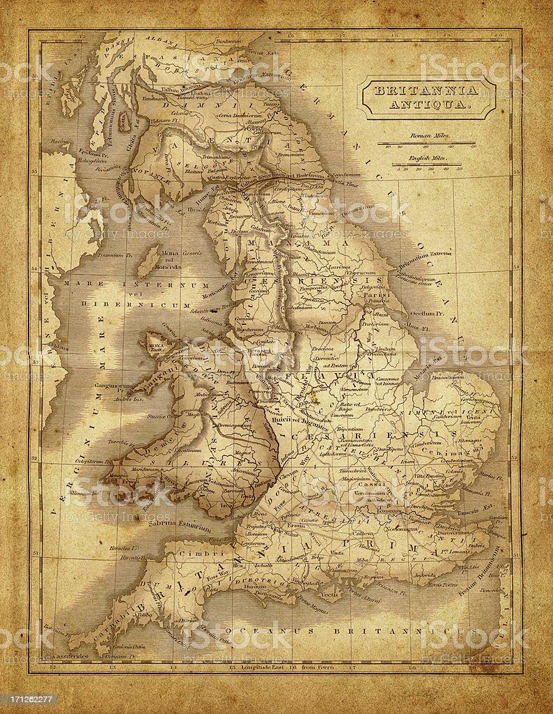map of Britannia during the roman empire vector art illustration