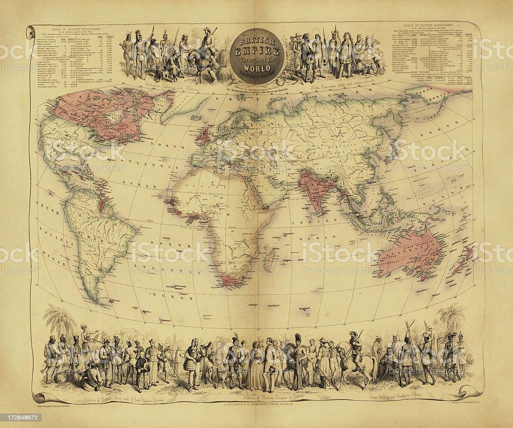 Map of British Empire vector art illustration