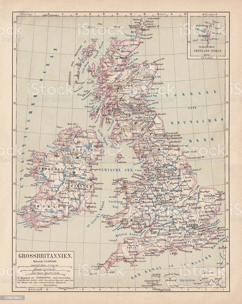 Map of British Isles, lithograph, published in 1876 vector art illustration