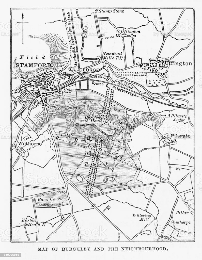 Map of Burghley and Neighborhoods, England Victorian Engraving, 1840 vector art illustration