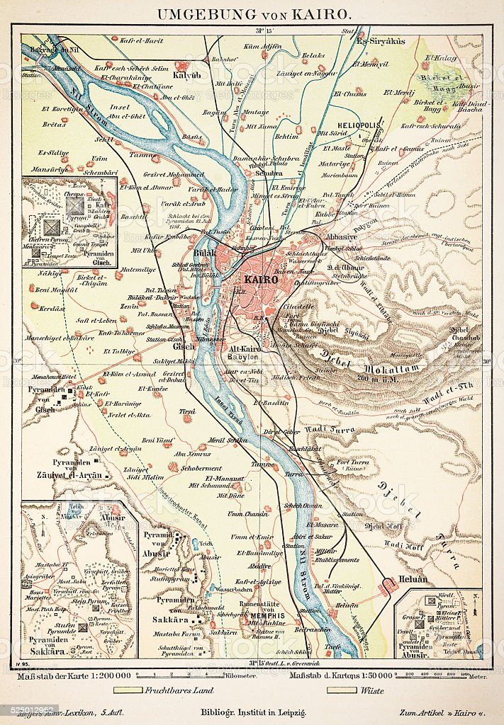 Map of Cairo 1895 vector art illustration