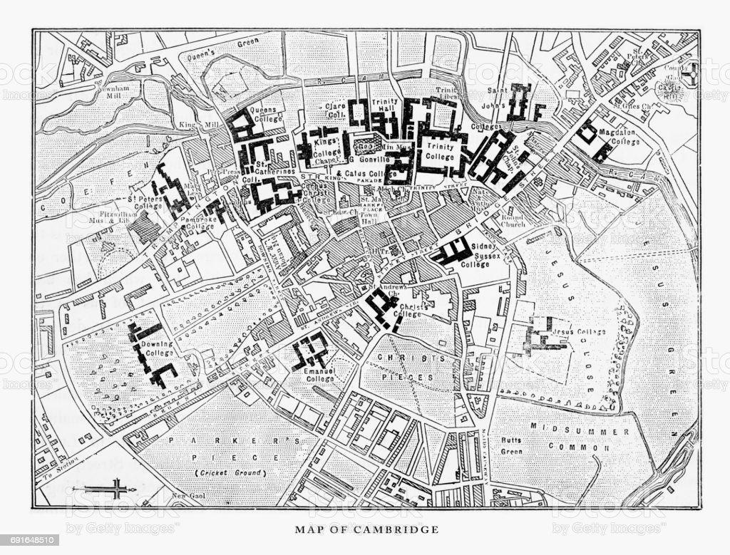 Map of Cambridge, Cambridgeshire, England Victorian Engraving, 1840 vector art illustration