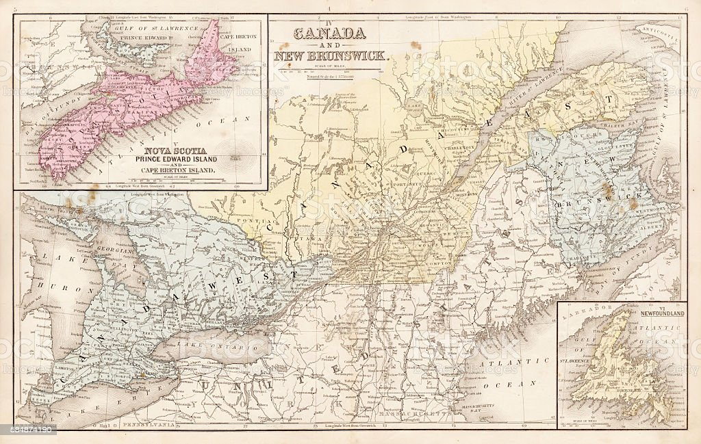 Map of Canada and New Brunswick 1867 vector art illustration