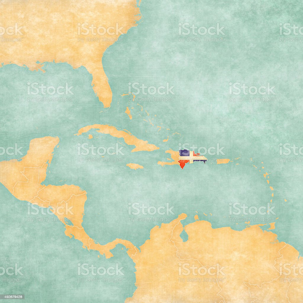 Map of Caribbean - Dominican Republic (Vintage Series) vector art illustration