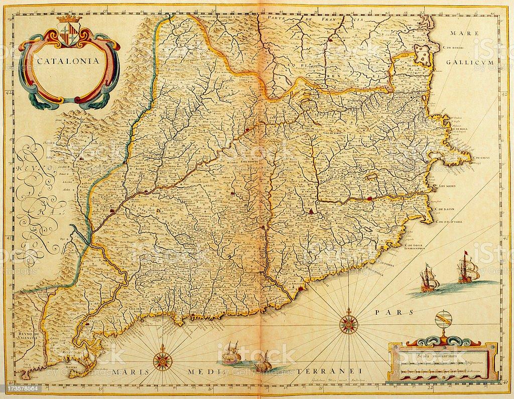 Map of Catalonia 1635 royalty-free stock vector art