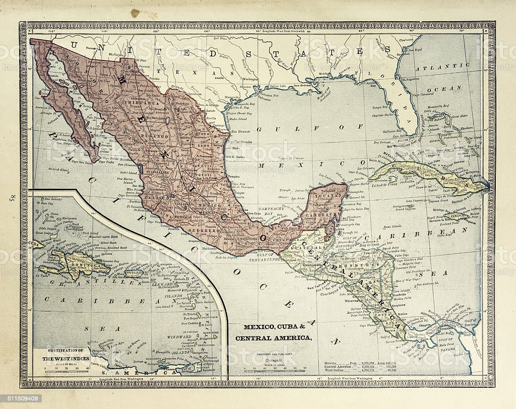 Map of Central America 1884 vector art illustration