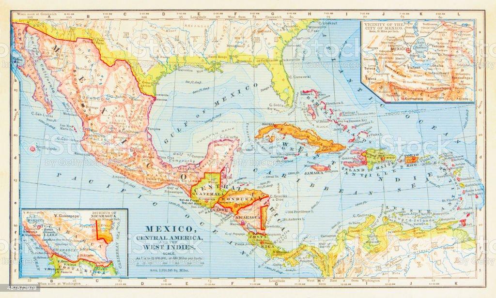 1883 Map Of Central America vector art illustration