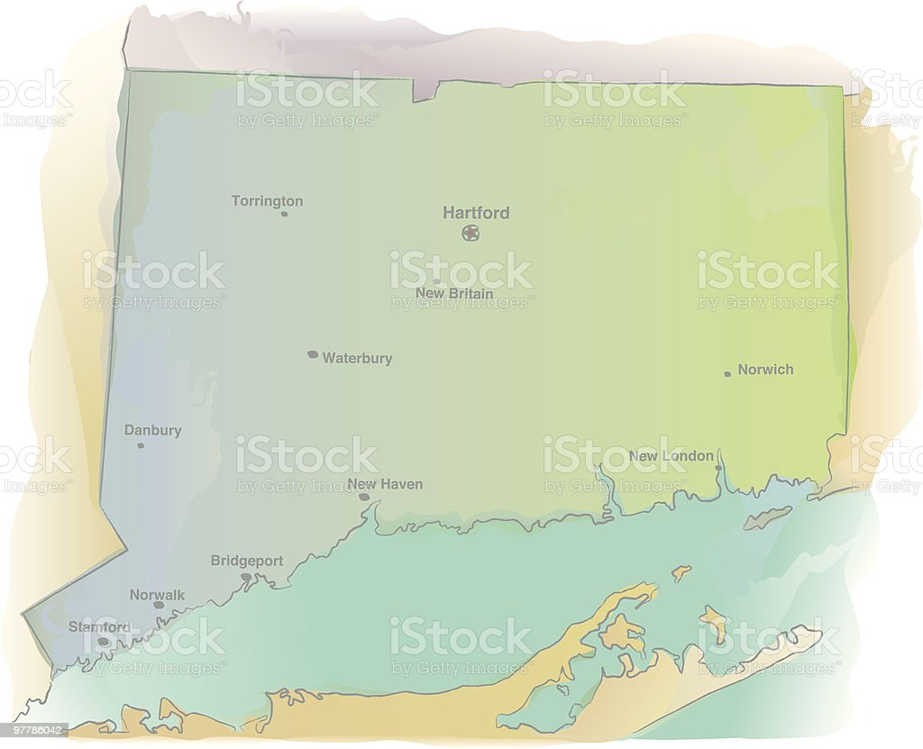 Map of Connecticut - Watercolor style royalty-free stock vector art