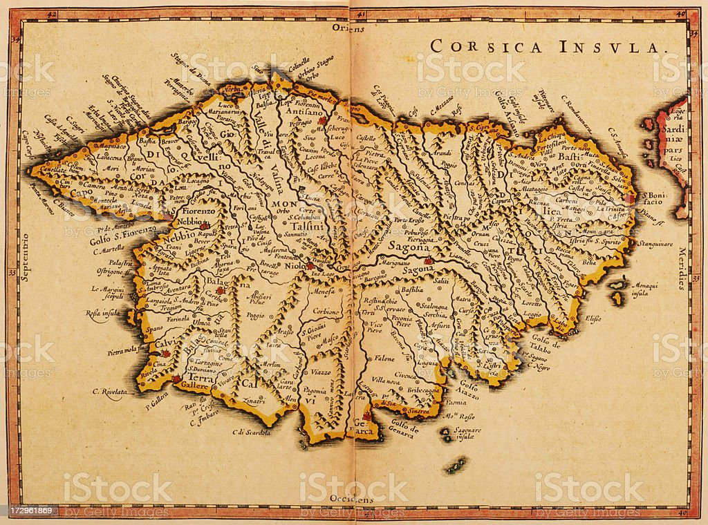 Map of Corsica 1635 vector art illustration