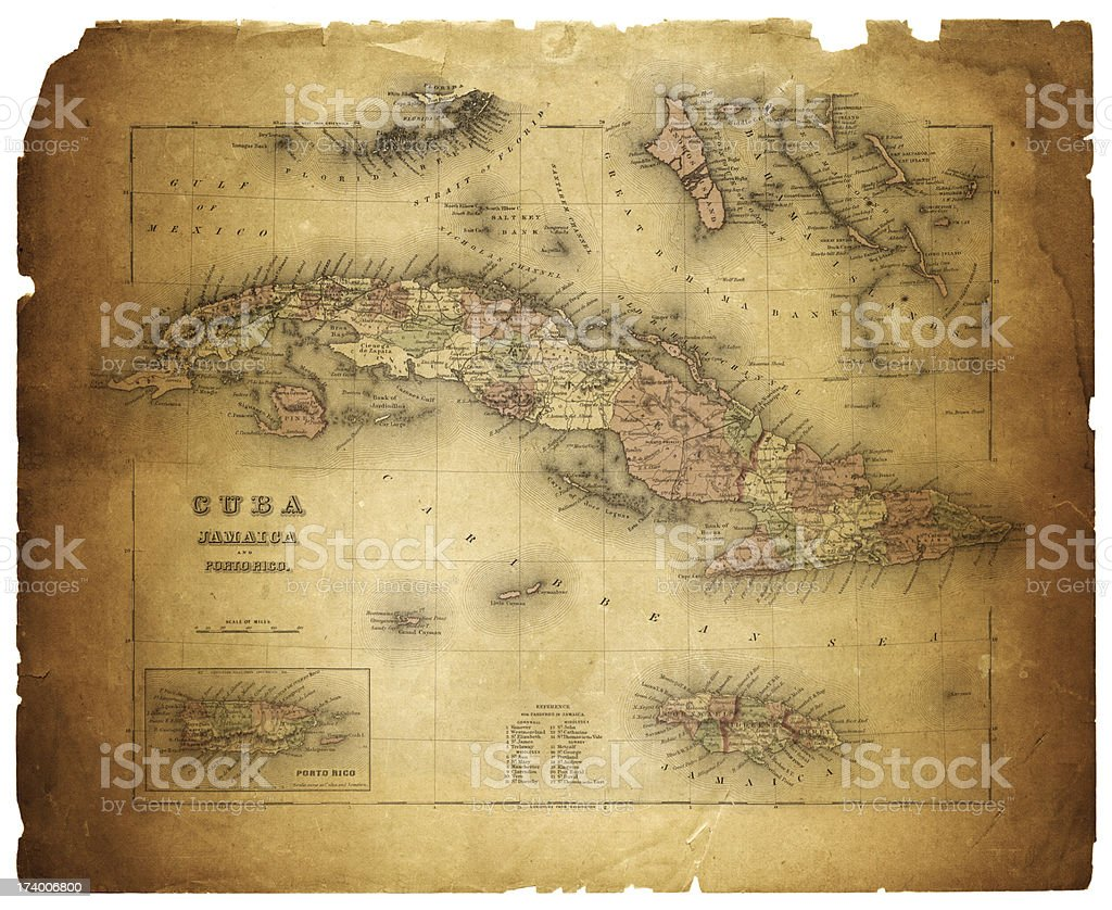 map of cuba and puerto rico 1855 vector art illustration