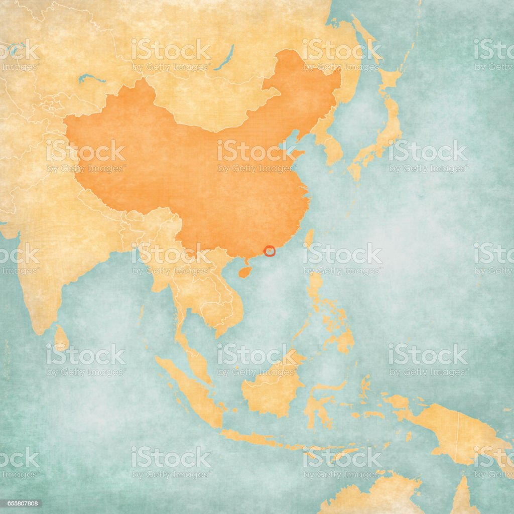 Map of East Asia - Hong Kong vector art illustration