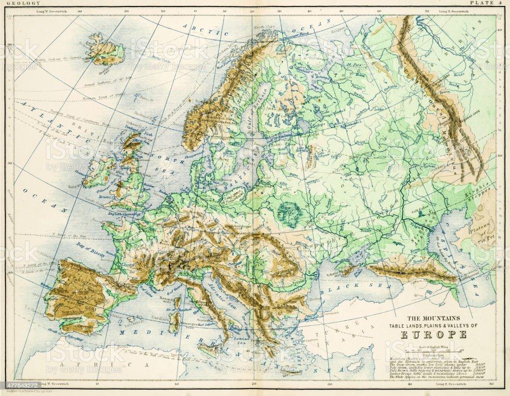 Map of Europe 1861 vector art illustration