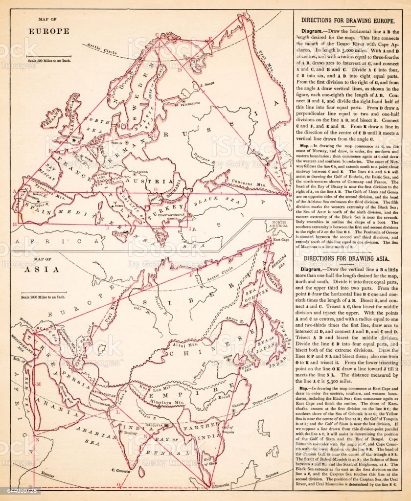 Map of Europe and asia 1883 vector art illustration