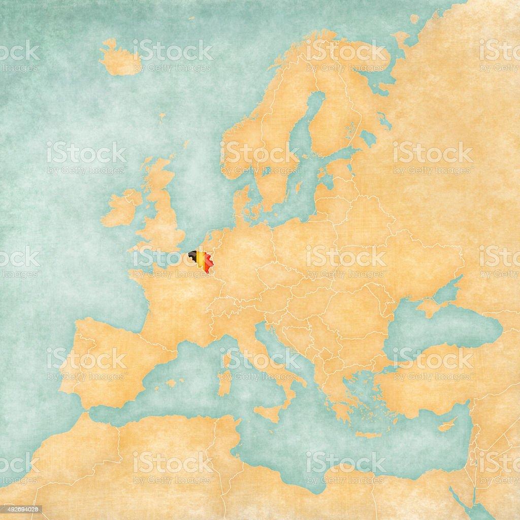 Map of Europe - Belgium (Vintage Series) vector art illustration