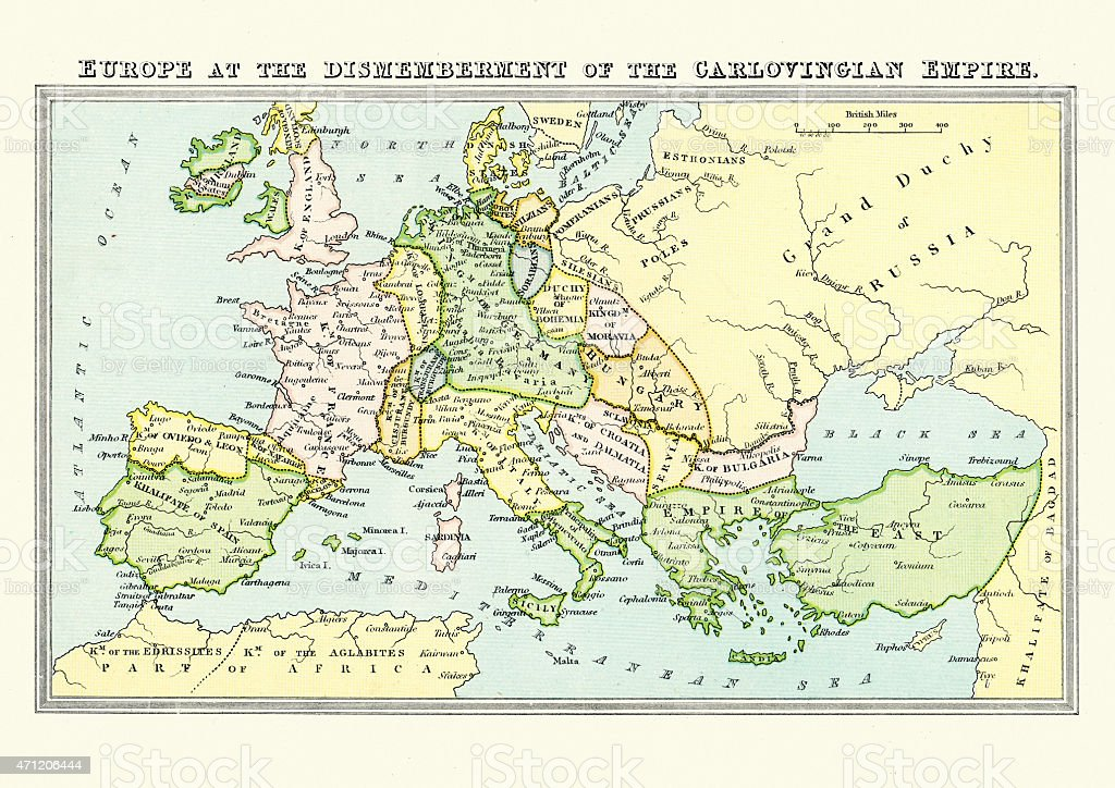 Map of Europe in the late 9th Century vector art illustration