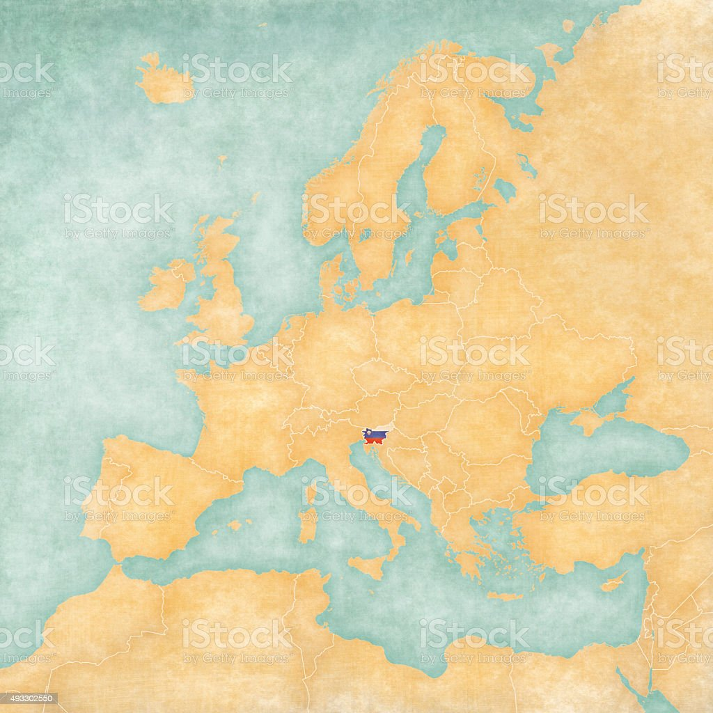 Map of Europe - Slovenia (Vintage Series) vector art illustration