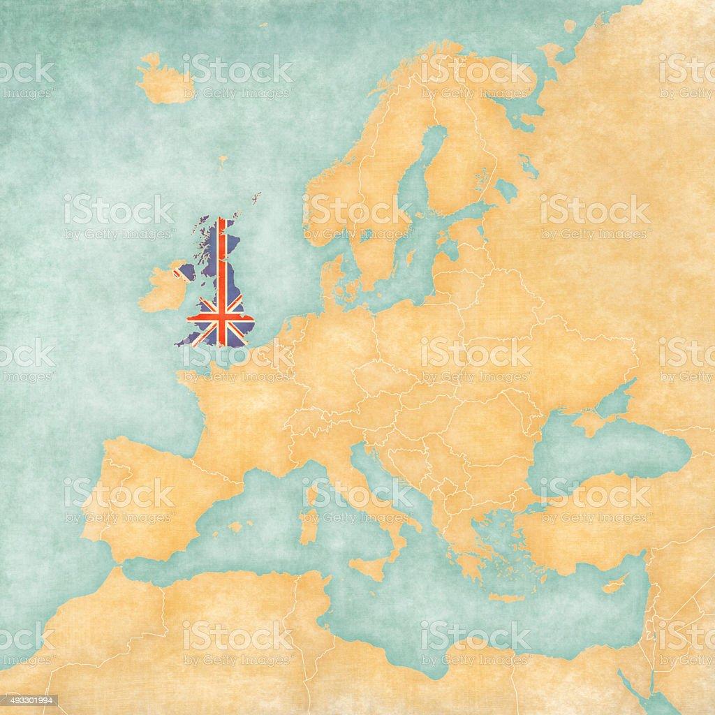 Map of Europe - United Kingdom (Vintage Series) vector art illustration