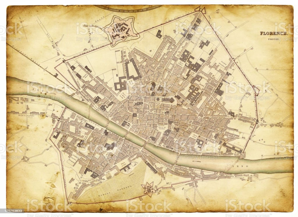 map of florence 1835 vector art illustration