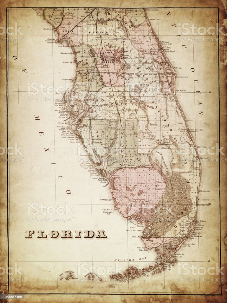 map of florida 1870 vector art illustration