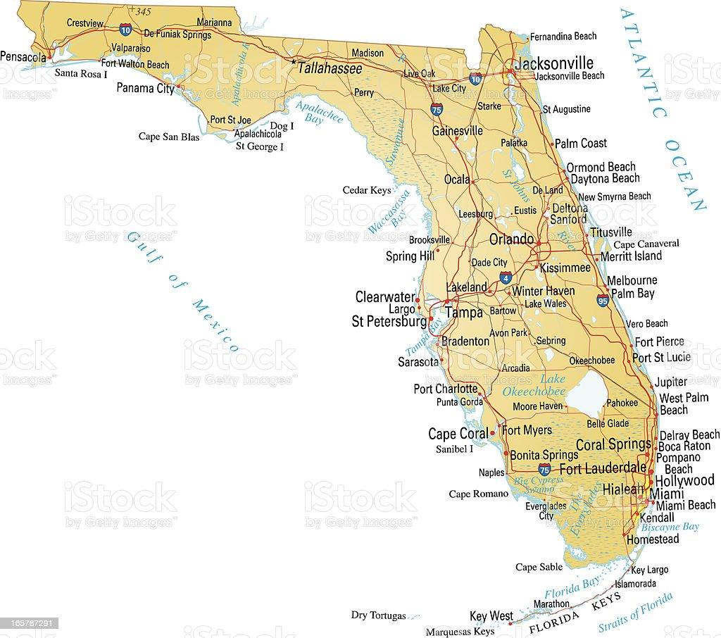Map of Florida vector art illustration