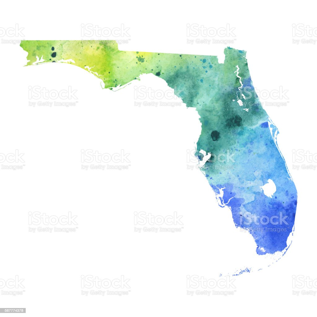 Map Of Florida With Watercolor Texture Raster Illustration Stock - Florida keys map art