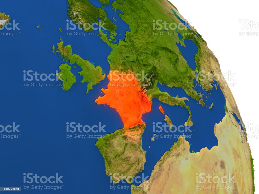 Map of France in red vector art illustration