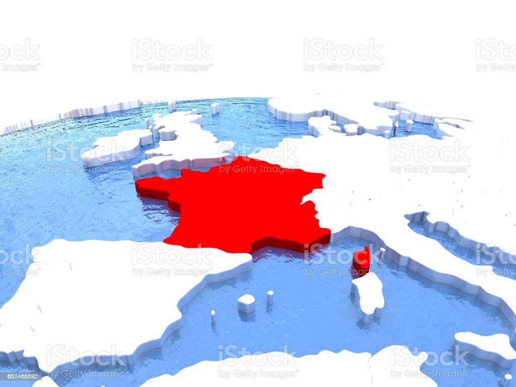 Map of France on globe vector art illustration