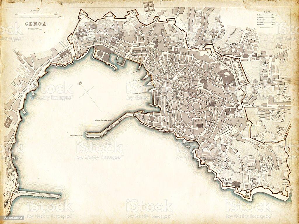 Map of Genoa 1836 vector art illustration