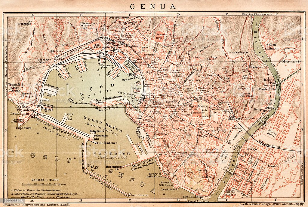 Map of Genoa 1898 vector art illustration