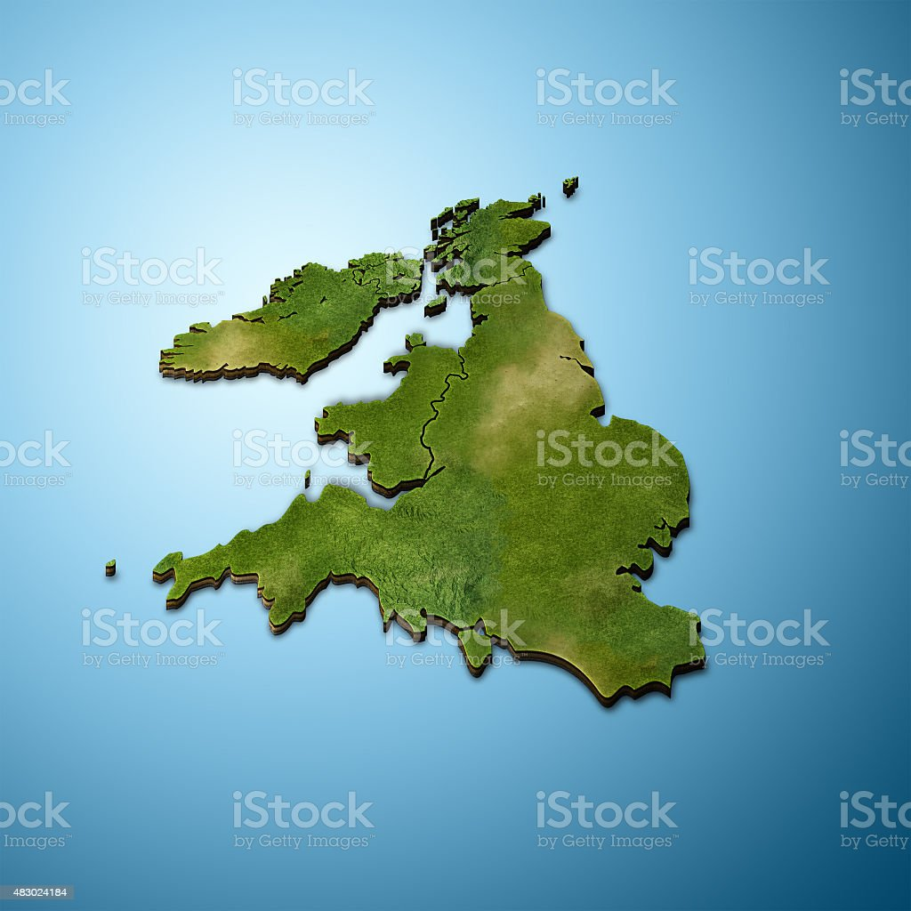 3D map of great Britain vector art illustration