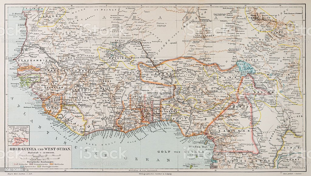 Map of Guinea and Sudan 1897 stock photo