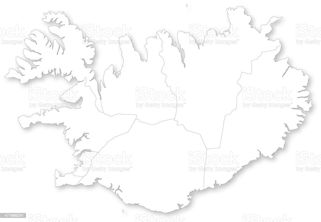 Map of Iceland with regions. vector art illustration