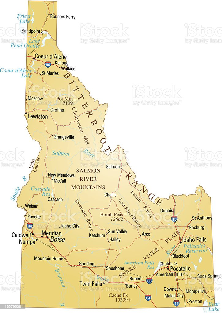 Map of Idaho vector art illustration